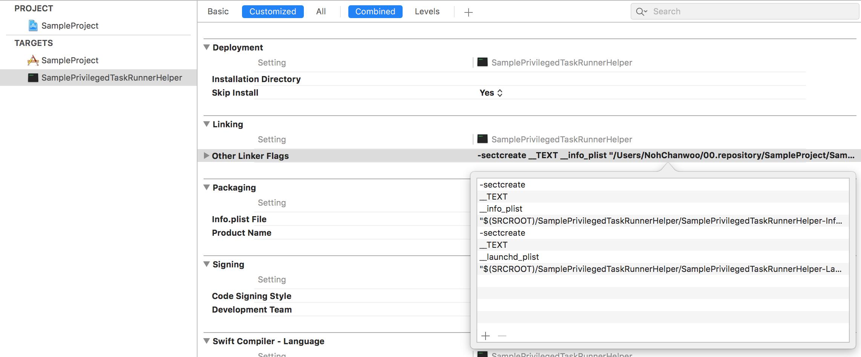 SampleProject TARGET Build Settings